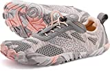 WHITIN Zapatilla Minimalista de Barefoot Trail Running para Mujer Five Fingers Fivefingers Zapato Descalzo Correr Deportivas Fitness Gimnasio Calzado Asfalto Rosado Gris 37 EU