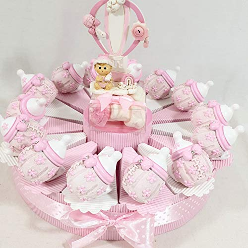 bomboniere Originali Battesimo Bimba Femmina biberon Rosa e Centrale Mongolfiera (Torta 35 fette 3 Piani)
