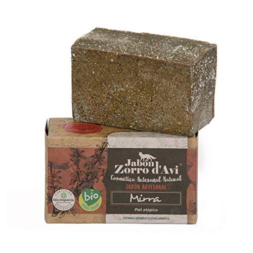 Jabón Zorro D'Avi   Jabón Natural Ecológico de Mirra   120 gr   para Pieles Atópicas y Sensibles   Jabón Biodegradable Zero Waste   Tónico Cutáneo   Fabricado en España
