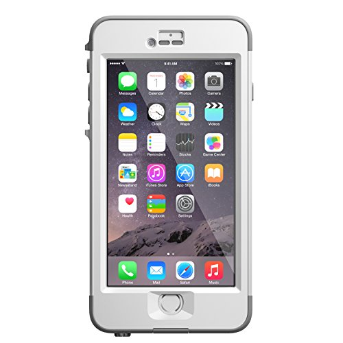 """LifeProof NÜÜD iPhone 6 Plus ONLY Waterproof Case (5.5"""" Version) - Retail Packaging - AVALANCHE (BRIGHT WHITE/COOL GREY)"""