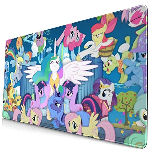 Cartoon Painting Art My Rainbow Pony Mouse Pad with Stitched Edge Premium-Textured Mouse Mat Rectangle Non-Slip Rubber Base Oversized Gaming Mousepad,for Laptop Computer & PC 15.8X29.5 Inches