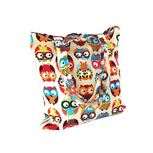 Caixia Women's Cotton Colorful Owl Print Canvas Tote Shopping Bag, Colorful Owl/Zip Closure, Medium