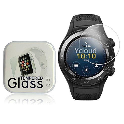 Ycloud Pellicola Protezione di schermo per Huawei Watch 2 Smartwatch in vetro temperato Ultra Resistente Protezione Esterna Durezza 9H (0,26mm HD Transparent High)