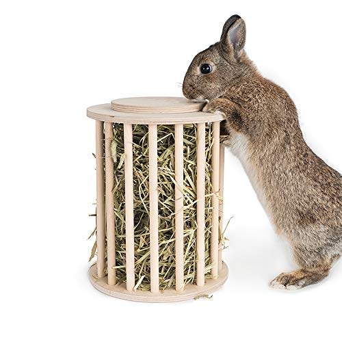 JKGHK Hay Feeder Cylindrical Stand Feeding Manager Bunny Guinea Pig Feeder Hay with Cover for Rabbit Guinea Pig Chinchilla Bunny