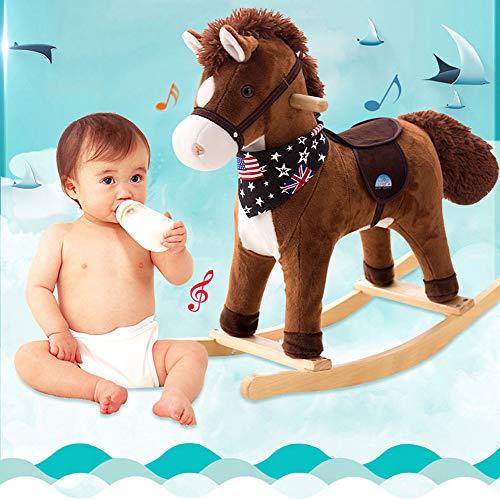 YYSDH Rockeros Animales Ride-ons bebé del Caballo Mecedora, Caballo de Madera Felpa Mecedora Juguete Agradable para el bebé 1-4 años Asiento del Columpio Infantil Regalo de cumpleaños