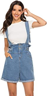 AvaCostume Womens Denim Suspenders Shorts Cuffed Hem Bib Overalls Shorts