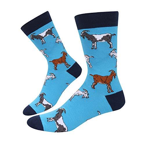 SOCKFUN Men Head Goat Billy Animals Crew Socks, Novelty Funny Funky Socks