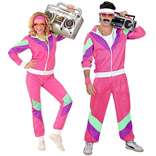 Widmann 98801 - Kostüm 80er Jahre Trainingsanzug, Jacke und Hose, angenehmer Tragekomfort, Assi Anzug, Proll Anzug, Retro Style, Bad Taste Party, 80ties, Karneval