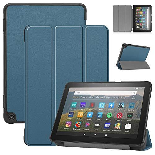 QiuKui Tab Funda para Amazon Fire HD 8/8 Plus 2020, Smart Tablet Funda de Cuero PU Tri-Fold Soporte Protector Cáscara automática Wake/Sleep Funda para Amazon Fire HD 8/8 Plus 2020 (Color : Verde)