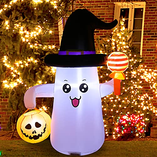 5 Ft Halloween Inflatables Ghost with Pumpkin Decoration, Outdoor Indoor Halloween Blow up Inflatables with Super Bright LED Lights for Home,Yard,Garden,Lawn Party, Holiday Decor