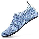 Unitysow Zapatillas de Estar por Casa para Niños Ligeras de Punto Antideslizantes Calcetines Zapatillas con Suela de Goma,Azul Claro,34-35 EU