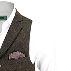 Mens Oak Brown Blue Green Herringbone Tweed Vintage Collar Waistcoat Retro Smart Tailored Fit Vest [Chest UK 46 EU 56,Brown] #4