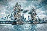 ThinkingPower Cuadros Modernos Tower Bridge, Paisaje de Londres, día de la Nieve, Carteles de Inglaterra e Impresiones, Pinturas en Lienzo para la decoración de la Sala de Estar 60x90cm