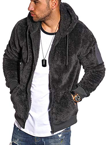 behype. Herren Teddy-Fell Sweat-Jacke Sweatshirt weicher Hoodie mit Kapuze 40-MSPHU Dunkelgrau XL