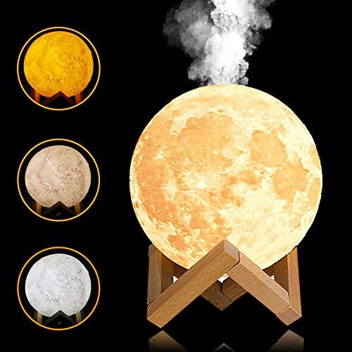 YINGJEE Humidificador de Lámpara de Luna en 3D con Luz LED de Noche y