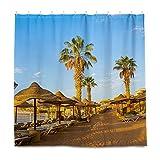 ISAOA Mnsruu Red Sea Coast Concord Hotel Cortina de ducha para baño, anti moho y resistente al moho, lavable con 12 ganchos, 180 x 180 cm