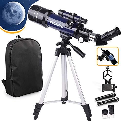 USCAMEL Telescopio para niños principiantes adultos, telescopio refractario astronómico de 70 mm con trípode ajustable, adaptador de teléfono y mochila, telescopios portátiles para astronomía
