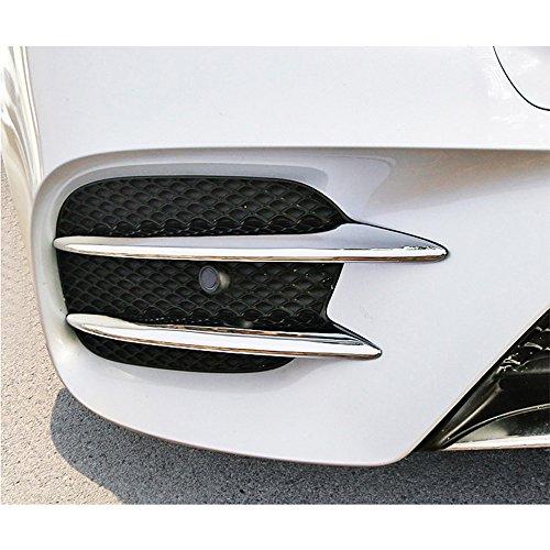 DIYUCAR Lot de 4 bandes de feux de brouillard avant en plastique ABS chromé pour Classe E W213 2016 2017 2018 E43 AMG Accessoires auto (argent brillant)
