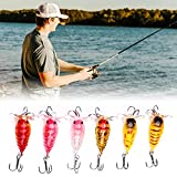 6 PCS Mighty Bite Fishing Lures, Plastic Bionic Fishing Lures for Bass, Freshwater Cranked Bass Fishing Swimbaits, Realistic Fishing Lures for Freshwater Brine, Floating Artificial Bait for Fishing