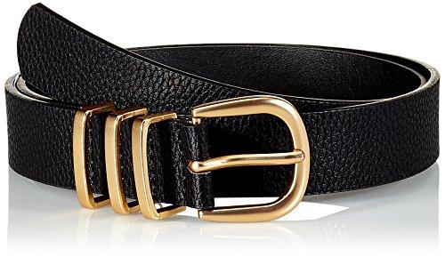 PIECES Damen PCLEA JEANS BELT NOOS Gürtel, Mehrfarbig (Black Detail: Black W/Gold), 80