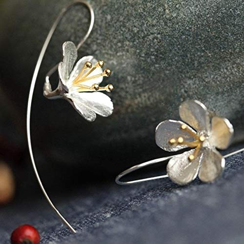 xingguang Pendientes de plata de ley 925 con diseño de flor de plata de ley 925 para mujer, proceso tailandés, elegante, joyería de plata de ley (color de la gema: plata)
