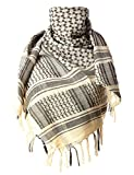 ChinFun 100% Cotton Keffiyeh Tactical Desert Scarf Military Arab Scarf Wrap Shemagh Beige