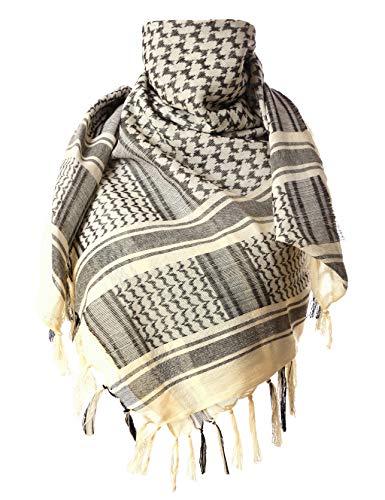 ChinFun - Bufanda Kufiyya de 100 % algodón, bufanda táctica Shemagh, Beige, Una talla