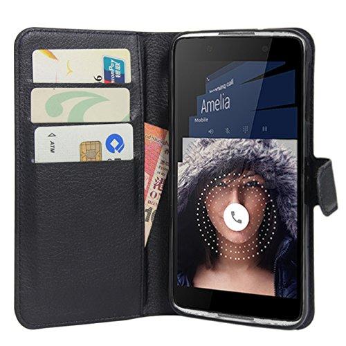 HualuBro BlackBerry DTEK50 Hülle, Premium PU Leder Leather Wallet HandyHülle Tasche Schutzhülle Flip Case Cover mit Karten Slot für BlackBerry DTEK50 Smartphone (Schwarz)