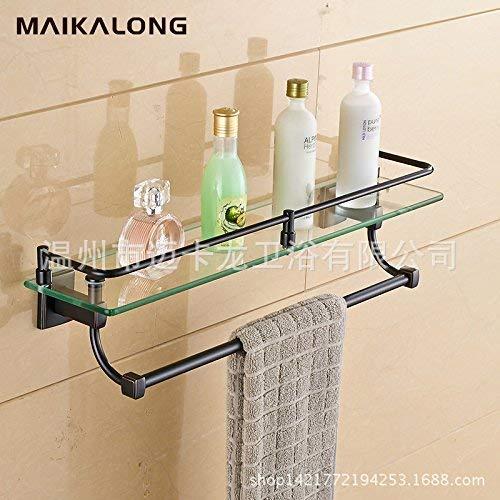 Wandrek glas met handdoekhouder zwart antiek badkamer spiegel cosmetica frame voorzijde koper materiaal