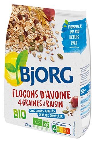 Bjorg Flocons d'Avoine 4 Graines Raisins Bio - Sans sucres ajoutés - Riche en Fibres - 375 g