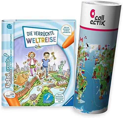 Ravensburger tiptoi ® Create Buch | Die verrückte Weltreise + Kinder Weltkarte - für Kinder ab 6 Jahre
