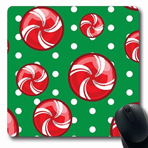 Mouse Pad Rote Karamell-Zuckerstange Weihnachten Abstrakte Feiertage Winterfeier Dezember Dessert Essen Herz Mousepad Rutschfeste Spiele Gummiarbeit Längliche 25X30Cm Mausmatte La