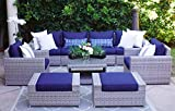 SunHaven Resin Wicker Outdoor Patio Furniture Set - 9 Piece Conversation Sectional Premium All Weather Gray Rattan Wicker, Aluminum Frame with Deluxe Fade Resistant Olefin Cushions