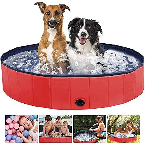 Piscina extra grande para mascotas, antideslizante UV-a prueba de UV CLORURO DE POLIVINILO Piscina plegable de remo con piscina de baño de frisbees para perros, gatos, niños, grasa de perro portátil d