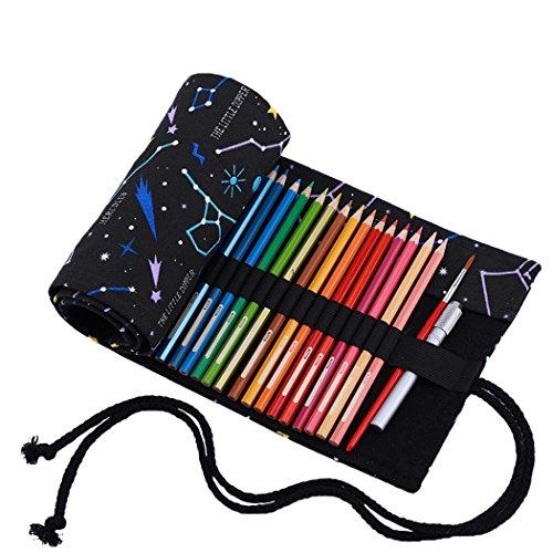 Abaría - Bolso para lápices, Grande Estuche Enrollable para 72 lapices Colores, portalápices de Lona, Bolsa Organizador lápices para Infantil Adulto, Metro Negro 72 (No Incluyendo los lápices)