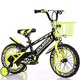 AISHFP Vélo avec Roues de Formation pour Enfants vélo Enfant, 12' 14' 16' 18' Pouces garçons/Filles Bikes pédales pour 3-6-9-Year-Old avec Le Panier,Jaune,18inch