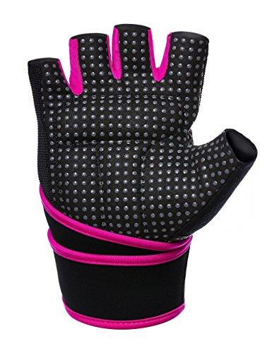 Showtime Damen Fitnesshandschuhe Handgelenkstütze Grips für Training – Schwarz/Lila – M - 4