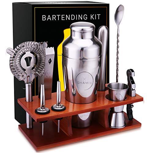 Bar Set 11-Piece Bartender Kit - Cocktail Shaker Set Bar Tool Set for Home and Professional Bartending - Martini Shaker and Drink Mixing Bar Tools - Cocktail Kit with Bar tools, Recipe Bonus