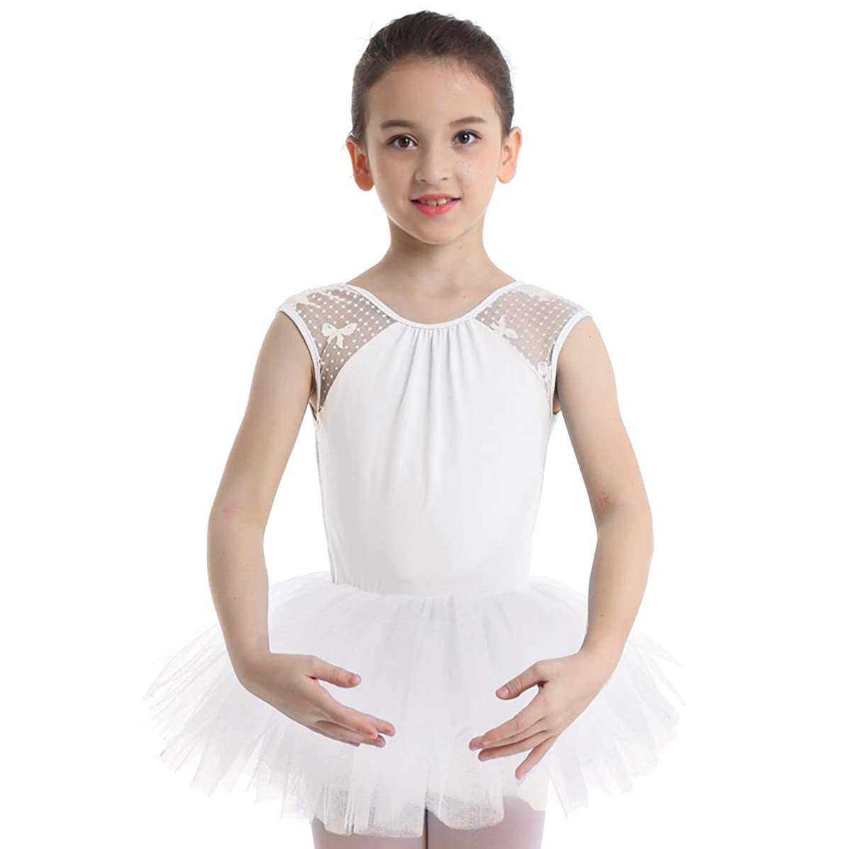 zdhoor Kids Girls Sleeveless Ballet Dance Dress Tutu Skirts Gymnastics Leotard Lace Back Dancewear Jumpsuit