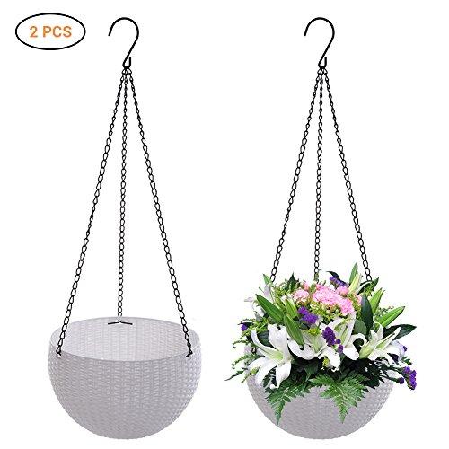 Schimer Bloempot Hanglamp, 2 stuks, macramé, voor binnen en buiten, bloempot, hangende mand, plantenhanger, macramé, bloempot, hanglampje, bloempot, plantenhouder, ophangsysteem