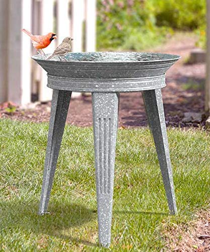 Panacea Stan Vintage Metal Bird Bath and Stand, Galvanized, Gray