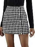 Koitniecer Faldas a Cuadros de Cintura Alta para Mujer Mini Falda por Encima de la Rodilla Faldas de Pata de Gallo de Moda Vestido para Dama de Oficina (Black, M)