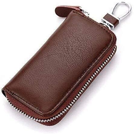 Sleutelbehuizing voor autosleutels, opening met ritssluiting van leer en sluiting voor sleuteltas voor auto, multifunctioneel, zeer gebruiksvriendelijk voor zwangere vrouwen. Bruin