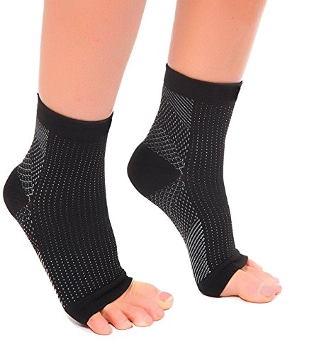 MojaSports Ankle Compression Socks Plantar Fasciitis Foot Sleeves for Arch Support - Relieve Pain, Eases Swelling & Heel Spurs - Better Than Night Splint or Brace (Black, Small/Medium, 1 Pair)