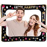 FLOFIA Marco Inflable Photocall Marco Selfie Photo Booth Frame LET'S PARTY para Fiesta Cumpleaños Boda Comunión Baby Shower Navidad Graduación Playa Piscina Party Supply Accesorios Fiesta