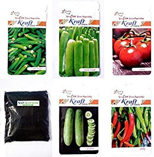 Bottle Gourd Hybrid, Tomato Hybrid, Lady Finger Hybrid, Chilly Hybrid, Cucumber Hybrid Summer Vegetable Hybrid Seeds and Neem Base Organic Manure (500 gm, Pack of 5) by Kraft Seeds