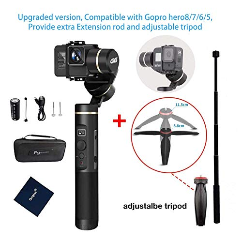 Feiyutech G6 (upgraded version V2)Handheld Gimbal for Gopro hero8/7/6/5/4 with Adjustable Tripod and Extension Rod