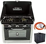 NJ CO-01 <span class='highlight'>Portable</span> Camping <span class='highlight'>Gas</span> Hob & Oven Stainless Steel Stove 2 Burners Outdoor with Carry Bag and Butane Regulator Set