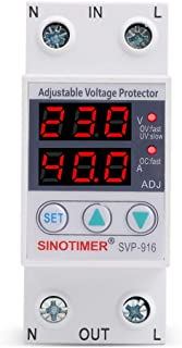 SINOTIMER SVP916 Home Usage Dual LED Display Din Rail 230V 40A Adjustable Voltage Surge Protector Relay with Limit Current Protection