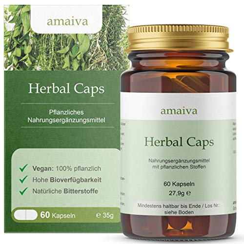 Herbal Caps (Bitterstoffe ohne Alkohol | Pulver aus über 20 Kräutern in veganen Kapseln - ideale Ergänzung zum abnehmen bei Diäten und Unterstützung der Leber, höchste Qualität, hergestellt in Deutschland, freiverkäuflich, PZN: 11482597)